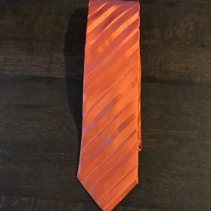 Sean John Orange Striped silk tie